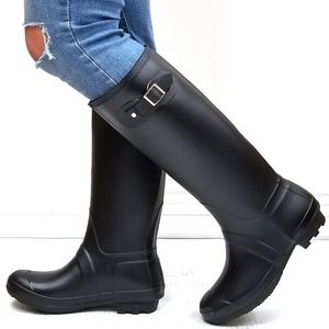 New Black Slim Calf Knee High Tall Rain Boots
